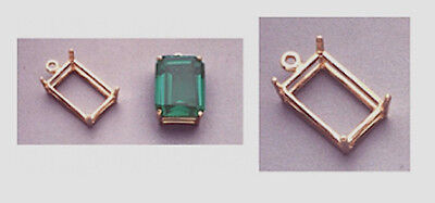 14kt White Or Yellow Gold Emerald Dangle Casting (7x5mm-2...