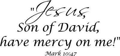 Mark 10:47 Vinyl Wall Art, Jesus, Son of David, Have Mercy on (Son Of David Have Mercy On Me)