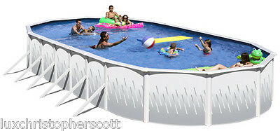 "Big Oval 18' x 39' x 52"" Above Ground Steel Swimming Pool With Blue Vinyl Liner"