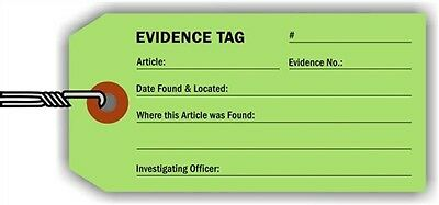 Evidence Identification Tag, 100 Tags / Pack, 4.25