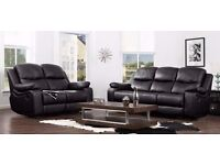 Stylish Best Quality London Leather Bonded Recliner Sofa Set Black Brown&Cream Colors With 3 Seater