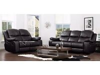 Real Leather New Luxury 3 Seaters Leather Recliner Sofa set With 3 colors