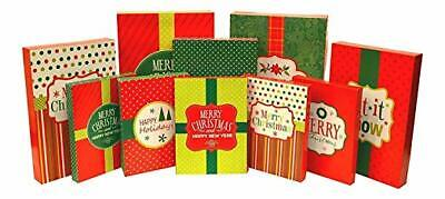 Pack of 10 – Christmas Themed Festive Gift Boxes in Assorted Sizes - Christmas Boxes