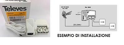 AMPLIFICATORE DI LINEA SEGNALE ANTENNA TV INTERNO TELEVES 560542 LTE 10/20dB