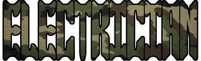 Camo Electrician Decal/Sticker FREE SHIPPING!!