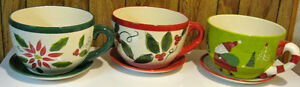 "3 LARGE XMAS ""TEA CUP"" PLANT HOLDERS"