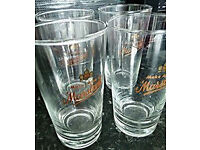 BEER PINT GLASSES, MARSTENS, GREAT CONDITION, 4 TOTAL, £1 PEACEHAVEN
