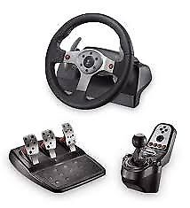 Logitech G25 steering wheel and stand