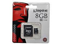 4 Kingston 8GB micro SD cards