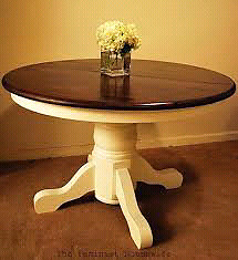 Painted round wood table