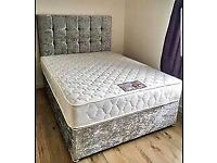 🔥🔥GENUINE AND NEW🔥🔥 DOUBLE/KING CRUSHED VELVET DIVAN BED w ORTHOPEDIC MATTRESS