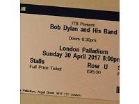 URGENT 2 x Bob Dylan Tickets - 30th April - London Palladium - STALLS