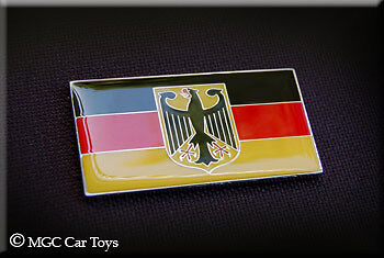 Two German Germany Real Car Metal Decal Badge Fender Grille Emblem Auto Flag