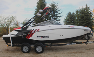 2012 BRP SEADOO 210 WAKE BOAT (white/black with red accents)