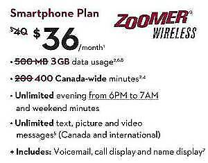 Zoomer Wireless $36 For 4GB Data $50 Referral Credit (Rogers)
