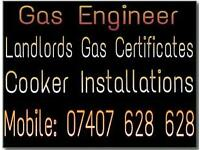 Installations of cookers by a gas engineer, installer, fitter
