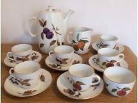 Vintage 60s/70s Royal Worcester Evesham Gold Porcelain Tea Coffee Set including Pot