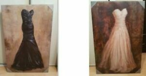 2 Canvas Paintings for Sale - Black & White Dresses