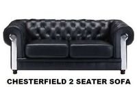 BRAND NEW MIRRORED FRONT CHESTERFIELD 2 SEATER SOFA IN BLAck +delivery