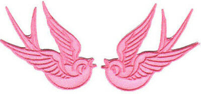 PINK SWALLOWS SPARROWS EMBROIDERED PATCHES rockabilly pin up girl tattoo art