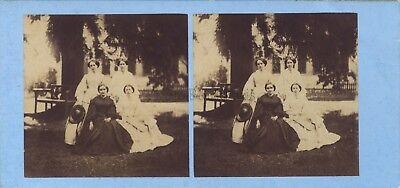 Family bourgeois Second Empire Fashion Photo Stereo Vintage albumin ca 1860