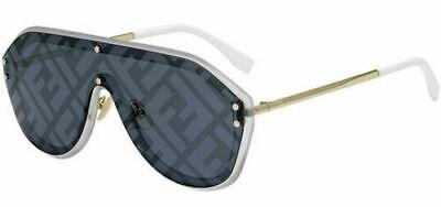 Authentic Fendi Fabulous Shield Sunglasses Gold/Silver w/ Blue Decor FFM0039GS