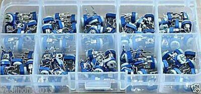 200 X 10 Value Variable Resistors Potentiometer Assortment Kit Box