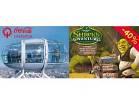 LONDON EYE + SHREK'S ADVENTURE 2 ADULT + 1 CHILD - USE BY 29 MARCH - VALUE £108 -40% YOURS ONLY £65