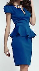 Ladies Stylish Blue Peplum Bodycon Dress with U Neckline Ideal Formal Casual