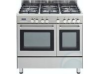 Kenwood dual fuel cooker with matching hood and stainless steel splash back