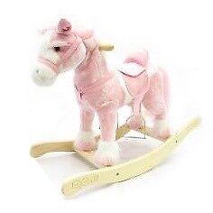 Plush pink rocking horse - new condition