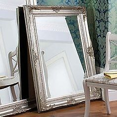 New Harrow 4x3ft feature mirror, carved wooden frame in silver or cream