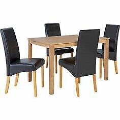 Pemberton oak table with 4 HOH skirted Black chairs Dining Set