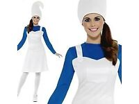 LADIES BLUE GARDEN GNOME / SMURF FANCY DRESS OUTFIT SIZE M PARTY OR HEN DO