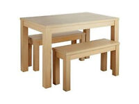 Sienna table and 2 Bench - Light Oak