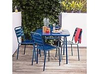 4 seater blue powder coated steel garden table (bought John Lewis house collection)