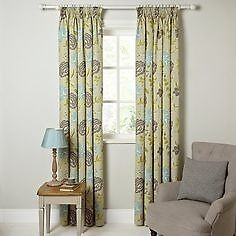 John Lewis OLIVIA Pencil Pleat Floral Curtains Green/grey WIDTH 228 DROP 182cm