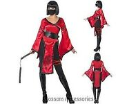 NINJA / SHADOW WARRIOR FANCY DRESS OUTFIT SIZE 12/14 MISSING NUNCHUCKS PARTY OR HEN DO