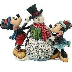 Jim Shore Disney Tradition Mickey and Minnie build a snowman