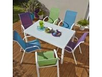 B and Q Janiero white metal and glass outdoor table - £107 new!