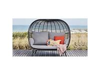 Cabana Large 2 Seater Garden Sofa Pod, Black by John Lewis