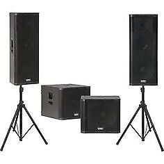 """2 X 18"""" powered subs and 4 X 12"""" mid/high speakers with stands."""