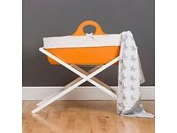Moba Moses Basket Orange And John Lewis Stand + 4 maitress covers - £50