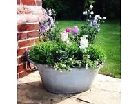 Vintage Shabby Chic Tin Bath Planter - Large