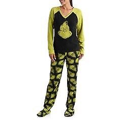 Adult grinch two piece pj with feet new with tags