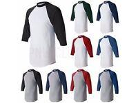 JOBLOT over 200 T shirts Fruit of the Loom, gildan ,rusesll and hanes baseball job lot tshirt