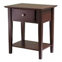2 MINT CONDITION DARK WOOD NIGHT STANDS WITH DRAWERS!!!