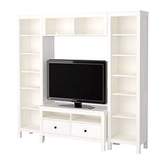 Selling white IKEA media unit w/ bookcases and tv stand