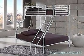 **SAME DAY DELIVERY!**Paris Triple Metal Bunk Bed-With Mattress Options/Same/Next Day Delivery