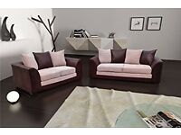 * BYRON CORNER SOFA BEIGE / BROWN PORTO JUMBO CORD LEATHER FOAM SEATS - SALE